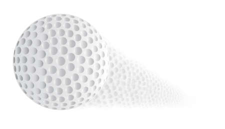 trajectory: A golf ball with a faded trajectory over a white background