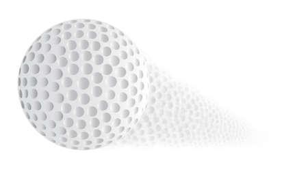 trajectoire: Une balle de golf avec une trajectoire fan�e sur un fond blanc