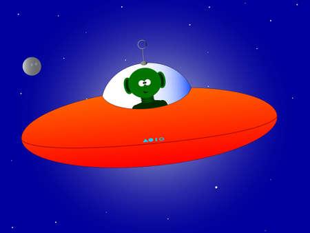 platillo volador: Platillo volante y ajeno sobre un fondo de estrellas