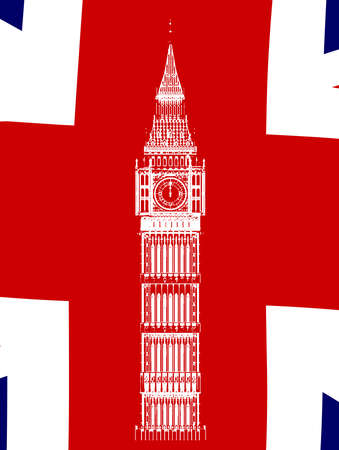 houses of parliament london: Sketch of Big Ben the London icon building over a Union Flag