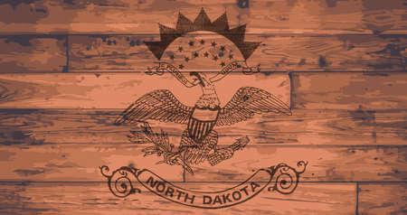 dakota: North Dakota State Flag branded onto wooden planks Illustration