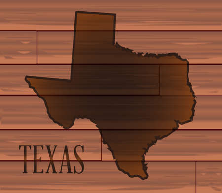 A set of medium brown wooden boards as a background to the map of Texas