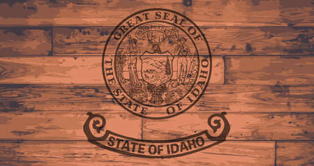 Idaho State Flag branded onto wooden planks