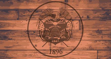 branded: Utah State Flag branded onto wooden planks Illustration