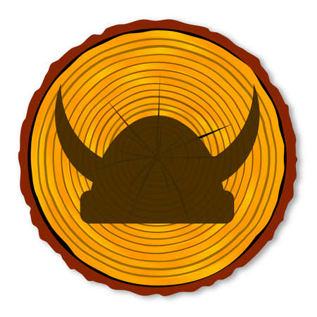 branded: A timber end section over a white background with the silhouette og a Viking helmet