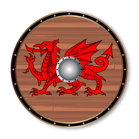 A Welsh celtic round shield with a red dragon isolated on a white background Illustration