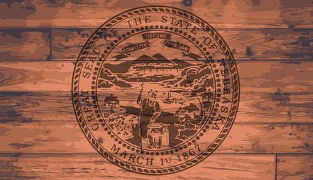 branded: Nebraska State Flag branded onto wooden planks Illustration