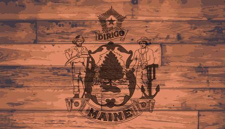 maine: Maine State Flag branded onto wooden planks Illustration