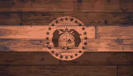 floorboards: Missouri State Flag branded onto wooden planks