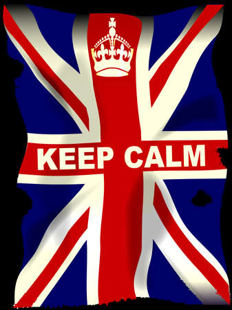 gibson: Keep Calm crown poster with Union Jack Flag Illustration