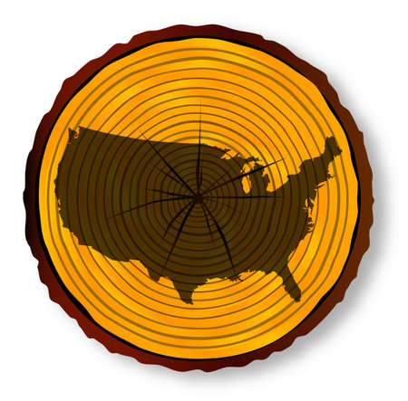 unites: Map of The Unites States of America on a timber end section over a white background Illustration