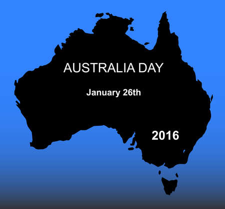 holiday celebrations: Map of Australia on a blue background with Australia Day 2016 text Illustration