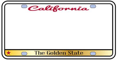 Nummerplaat van Californië met het motto op een witte achtergrond Stock Illustratie