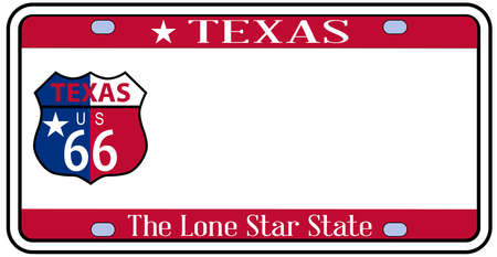 texas state: Texas state license plate in the colors of the state flag with icons with a route 66 badge over a white background Illustration