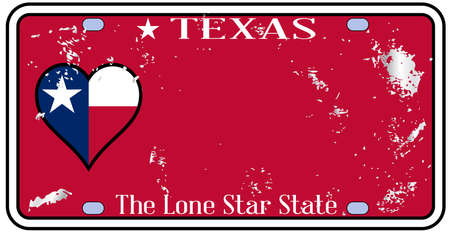 Texas state license plate in the colors of the state flag wih traffic damage over a white background Illustration