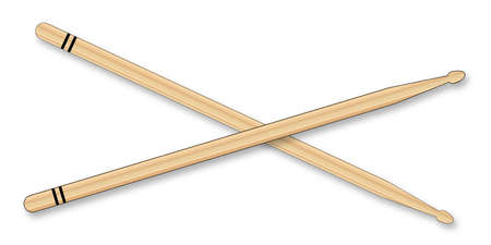 drumming: A pair of wooden drum sticks over a white background