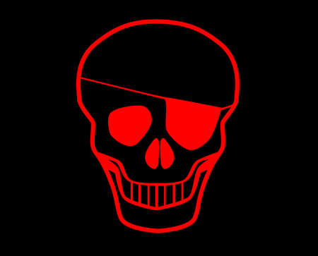 eye patch: Red skull with eye patch all in red over a black background