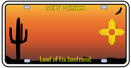 license plate: New Mexico state license plate with icons over a white background