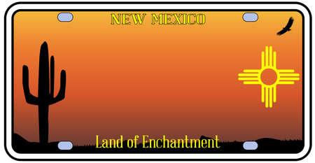 Nuovo Messico targa dello stato con le icone su uno sfondo bianco