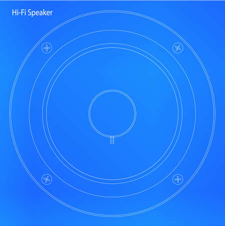 hi fi: Blueprint of a speaker cone in a hi-fi unit