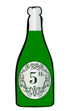 5th: A congratulations bottle of champagne with the legend 5th on a white background Illustration
