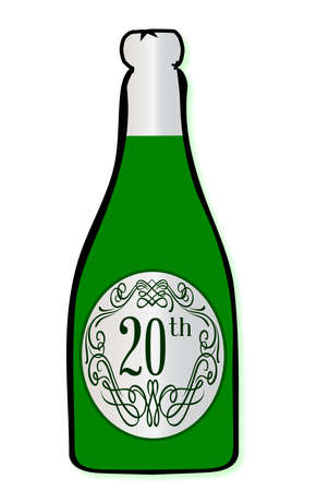 legend: A congratulations bottle of champagne with the legend 20th on a white background Illustration