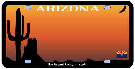 Arizona state license plate with flag and desert icons over a white background Illustration