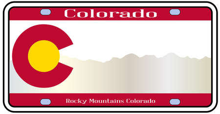 license plate: Colorado state license plate in the colors of the state flag with the Rocky Mountain silhouette over a white background Illustration