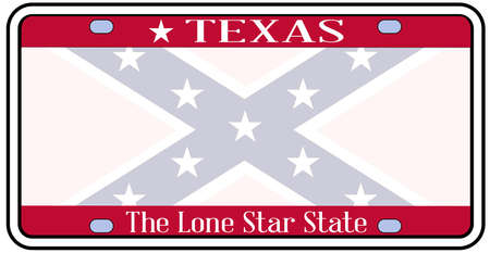 license plate: Texas state license plate with faded Confederate flag over a white background