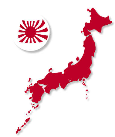 japanese flag: A spherical version of the Japanese Flag with outline map Illustration
