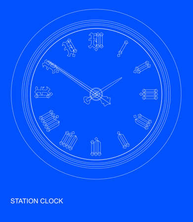railway station: A traditional railway station hanging clock as a blueprint