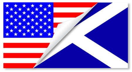 scottish flag: Il 'Stars and Stripes' contrassegna con un angolo ricciolo che mostra la bandiera scozzese sotto