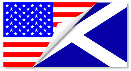 The Stars and Stripes flag with a curl corner showing the Scottish flag below