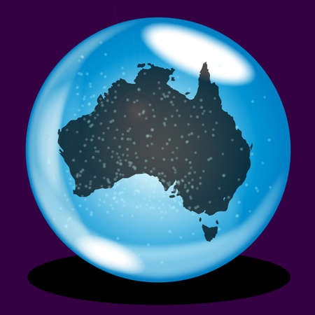 A crystal ball with Australia map and snow over a purple background