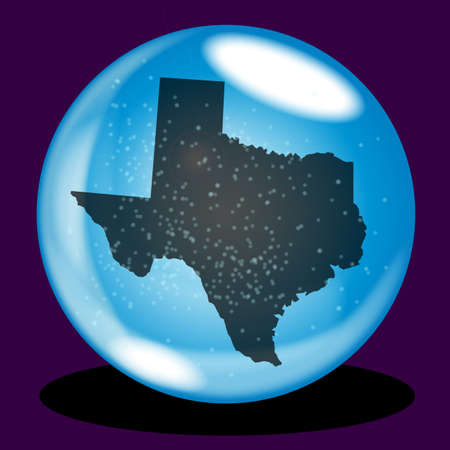 paranormal: A crystal ball with the state of Texas map and snow over a purple background Illustration