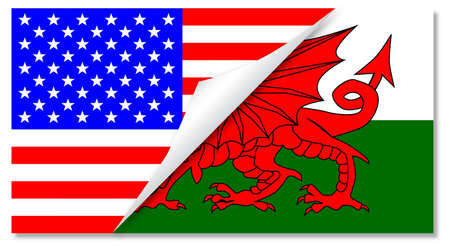 welsh flag: The Stars and Stripes flag with a curl corner showing the Welsh flag below Illustration