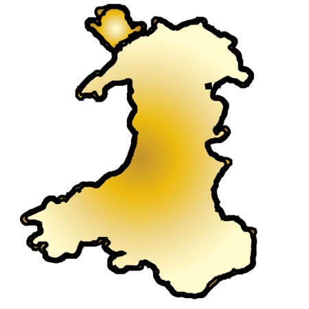 Outline map of Wales in gold and black the colours of the Saint Davids flag over white