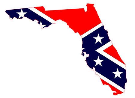 Outline of the map of Florida with confederate flag isolated on white