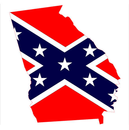 State Map Outline Of Georgia With Confederate Flag Over A White - State of georgia map outline