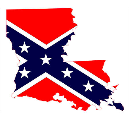 inset: State map outline of Louisiana with confederate flag inset over a white background