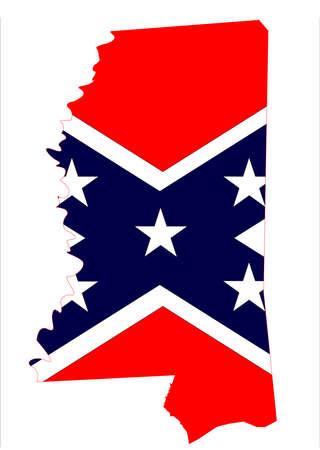 State map outline of Mississippi with confederate flag over a white background