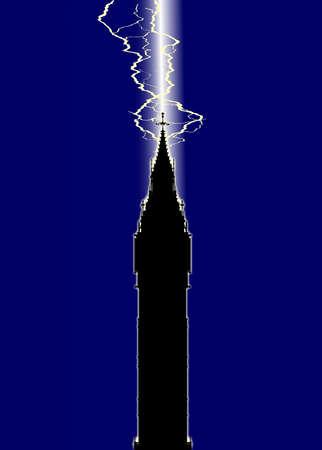 london landmark: The London landmark Big Ben Clocktower in silhouette with a lighning strike