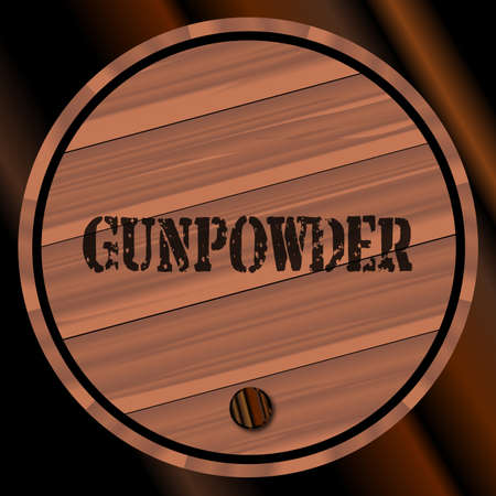 gunpowder: A keg of gunpowder with the name branded Illustration