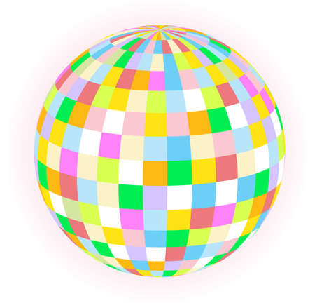 multi coloured: A multi coloured ball over a white background