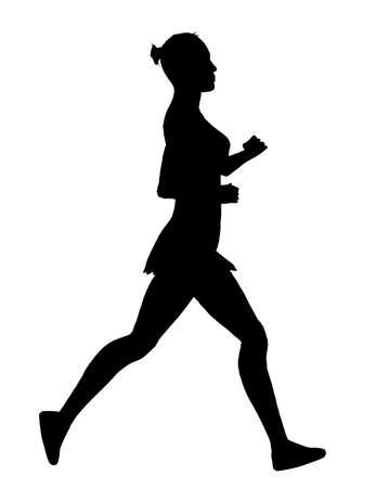 jogger: A jogger silhouette over a white background