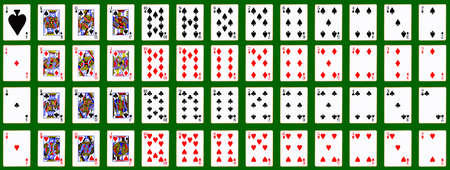The complete fifty two cards in the pack Illustration