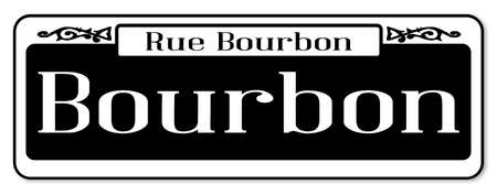 drunkenness: New Orleans street sign of Rue Bourbon over a white background
