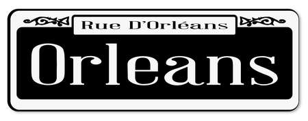 rue: New Orleans street sign of Rue DOrleans over a white background