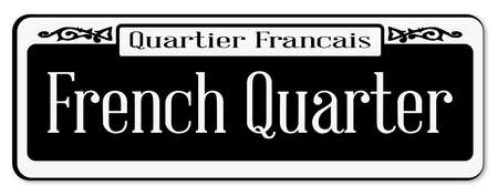 orleans: New Orleans street sign of Quartier Francais over a white background
