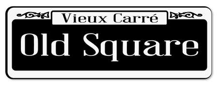 street sign: New Orleans street sign of Vieux Carre over a white background